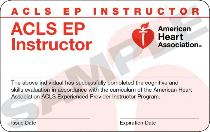 Advanced Cardiovascular Life Support for Experienced Providers (ACLS EP) Instructor Card (12 pack)