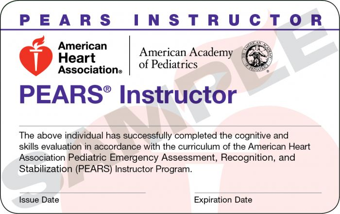 Pediatric Emergency Assessment, Recognition, and Stabilization (PEARS®) Instructor Card (15 pack)