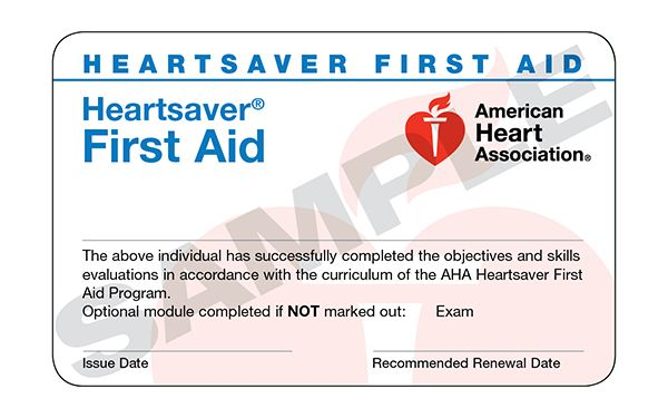 Heartsaver® First Aid Course Completion Card (24 pack)