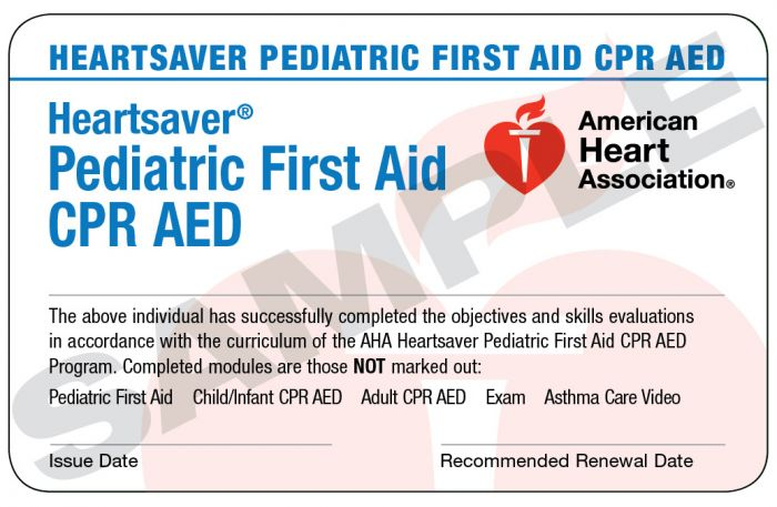 Heartsaver® Pediatric First Aid CPR AED Course Completion Card (24 pack)