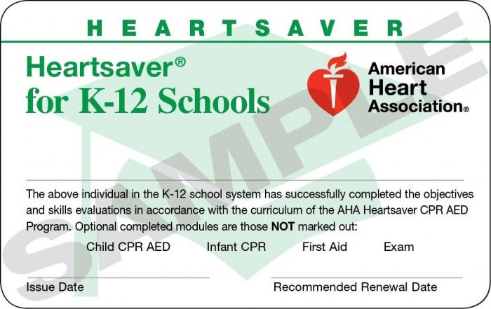 Heartsaver® for K-12 Schools Course Completion Card (24-pack)