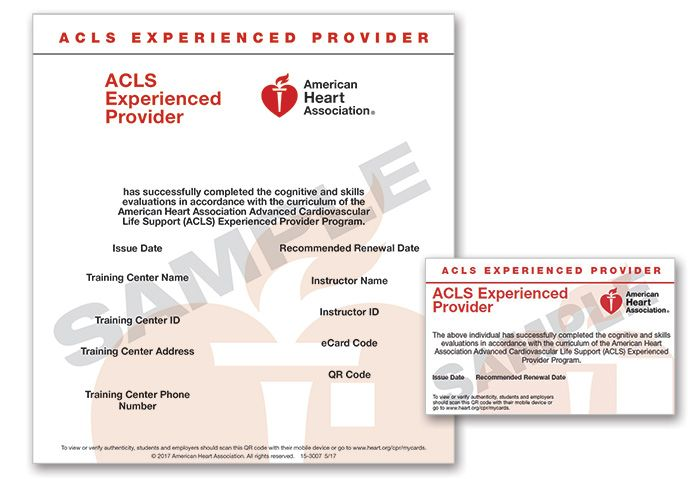 Advanced Cardiovascular Life Support Experienced Provider (ACLS EP) eCard