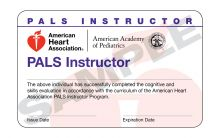 Pediatric Advanced Life Support (PALS) Instructor Card (15 pack)