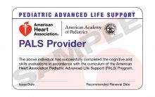 Pediatric Advanced Life Support (PALS) Provider Course Completion Card (3-card sheet)
