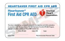 Heartsaver® First Aid CPR AED Course Completion Card (3-card sheet)