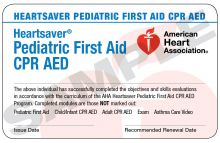 Heartsaver® Pediatric First Aid CPR AED Course Completion Card (3-card sheet)