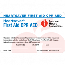 Heartsaver First Aid CPR AED Course Completion Card (6-pack)