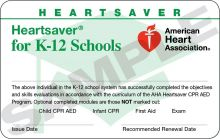 Heartsaver® for K-12 Schools Course Completion Card (3-Card Sheet)
