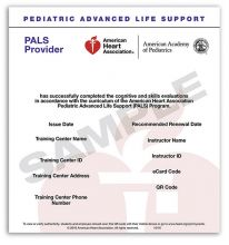 Pediatric Advanced Life Support (PALS) Provider eCard