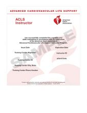 Advanced Cardiovascular Life Support (ACLS) Instructor eCard (2015)