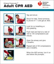 Heartsaver Adult CPR AED Wallet Card (2015)