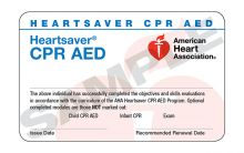 Heartsaver CPR AED Course Completion Card (2015)