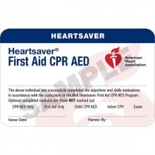 Heartsaver First Aid CPR AED Course Completion Card