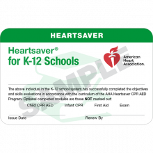 Heartsaver K-12 Course Completion Card