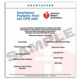 photo about Printable Cpr Card referred to as Heartsaver® Pediatric Initially Support CPR AED eCard