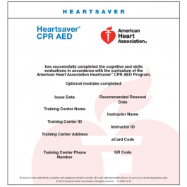 image about Printable Cpr Card named Heartsaver® CPR AED eCard