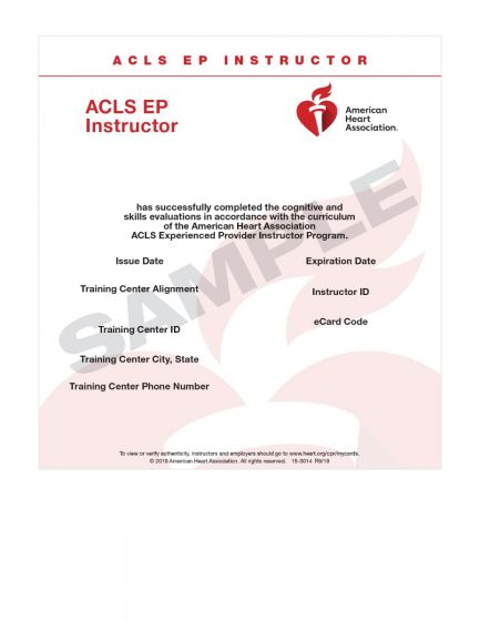 Advanced Cardiovascular Life Support for Experienced Providers (ACLS EP) Instructor eCard