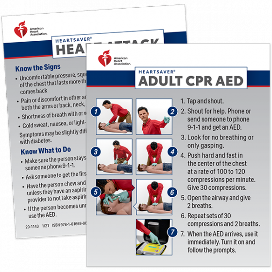 Heartsaver® Adult CPR AED Wallet Cards