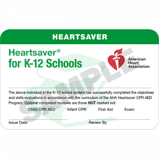 Heartsaver® for K-12 Schools Course Completion Card (24 pack)