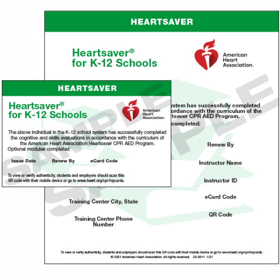 Heartsaver® for K-12 Schools Course Completion eCard