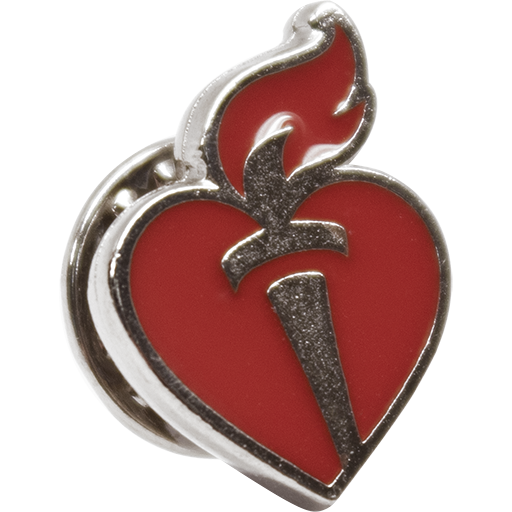 Heart & Torch Lapel Pin Silver (10-pack)