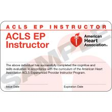 Advanced Cardiovascular Life Support for Experienced Providers (ACLS EP) Instructor Card