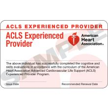 Advanced Cardiovascular Life Support for Experienced Providers (ACLS EP) course completion card (3-card sheet)