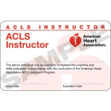 Advanced Cardiovascular Life Support (ACLS) Instructor Card (3-card sheet)