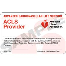 Advanced Cardiovascular Life Support (ACLS) Provider Card (3-card sheet)