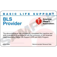 Basic Life Support (BLS) Provider Course Completion Card (3-card sheet)