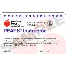 PEARS Instructor Course Completion Card