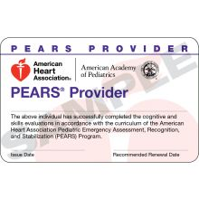 Pediatric Emergency Assessment, Recognition, and Stabilization (PEARS®) Provider Course Completion Card (3-card sheet)