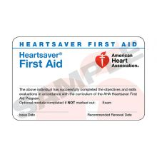 Heartsaver® First Aid Course Completion Card (3-card sheet)